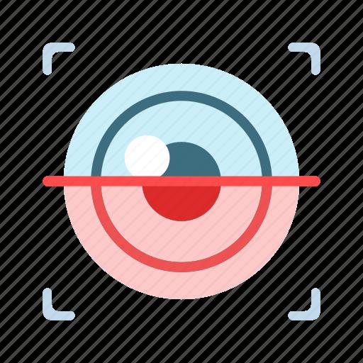eye, futuristic, identification, iris scanner, recognition, retina, security icon