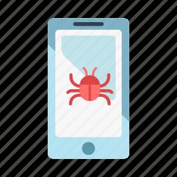 cellphone, danger, hacker, mobile, phone virus, smartphone, technology icon