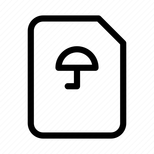 document, protect, protection, secure, umbrella icon