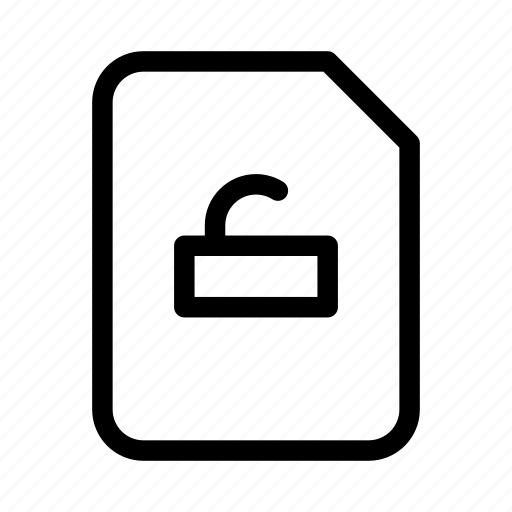document, protect, protection, secure, unlock icon
