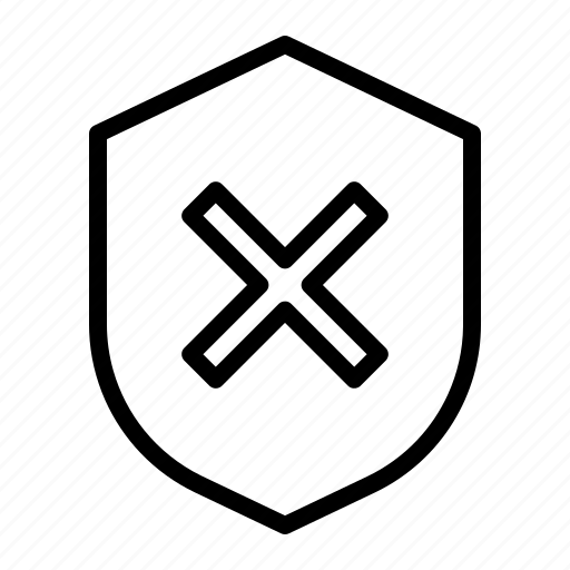 critical, shield, unprotected, unsafe icon