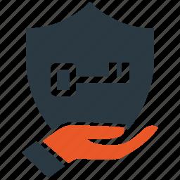 encryption, firewall, guard, key, security, shield icon