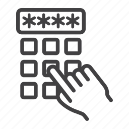 code, enter, finger, hand, password, pin, security icon