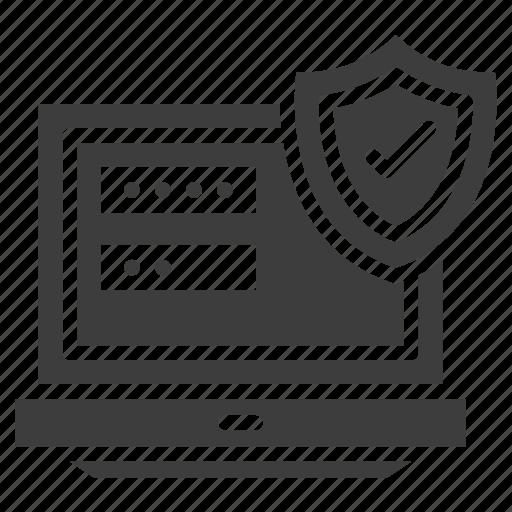 hacking, laptop, password, shield icon