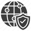 global, secure, shield icon