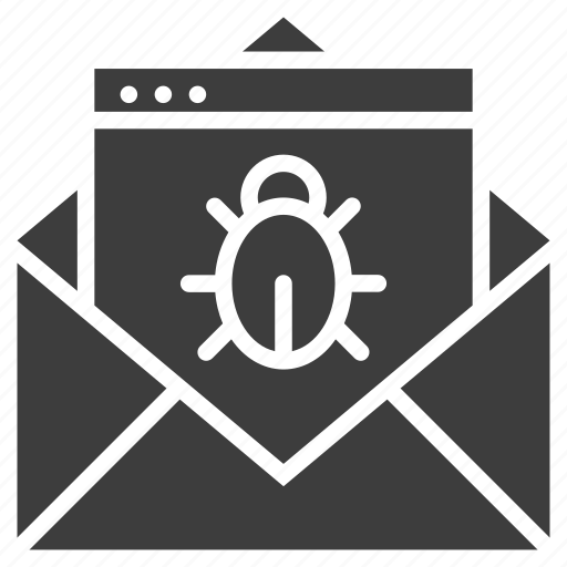 email, letter, threat, virus icon