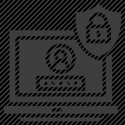 latop, lock, login, online, privacy, shield icon