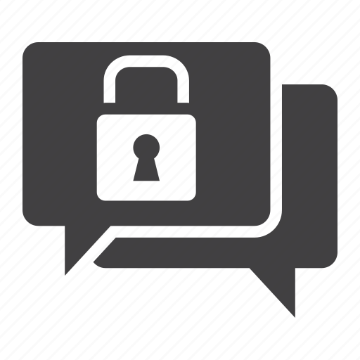 bubble, chat, encrypted, encryption, messaging, protection, security icon