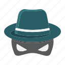 agent, anonymous, hat, incognito, private, secret, spy icon