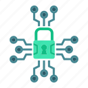 access, cyber, padlock, protection, security, system, technology icon