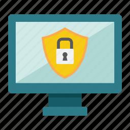 computer, data, encryption, lock, padlock, protection, security icon
