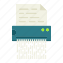 confidential, destroy, document, file, secret, security, shredder icon