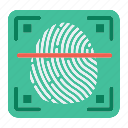 biometric, fingerprint, id, key, privacy, scanner, security icon
