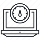 laptop, network, speed, test icon