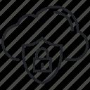 cloud, data, lock, shield, storage icon