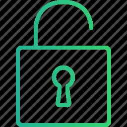 access, padlock, privacy, protection, safety, unlock, unlock icon icon