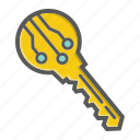 access, door, electronic, key, lock, open, security icon