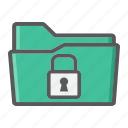 confidential, data, document, folder, padlock, secure, security icon