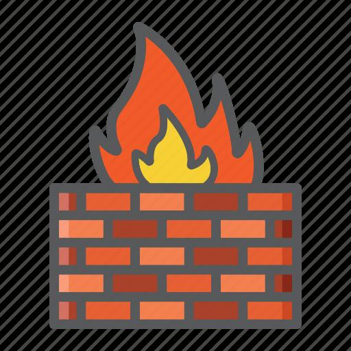 brick, communication, data, fire, firewall, internet, wall icon