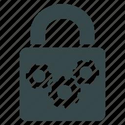 engine, equipment, gear, lock, mechanism, security, work icon
