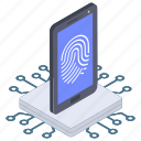authentication, biometric access, biometric security, fingerprint lock, fingerprint scanner icon