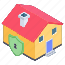home insurance, home protection, home security, house lock, safe home, secure building icon
