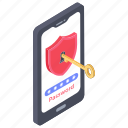 cyber security, mobile security, smartphone access, smartphone lock, smartphone password icon