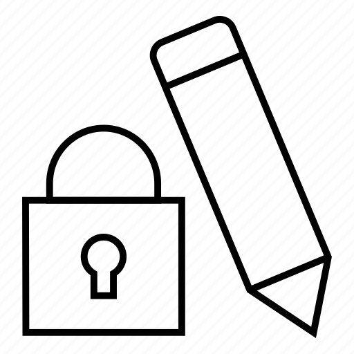 access, edit, lock, stop icon
