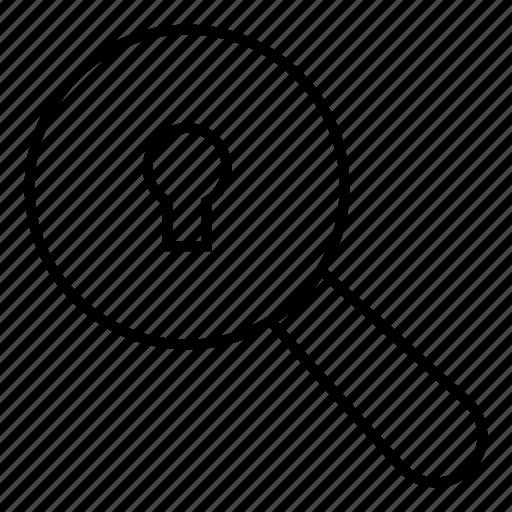 key, lock, magnifier, search icon