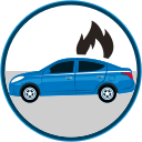 auto insurance, car in flames, car insurance, secure, seguro de autos icon