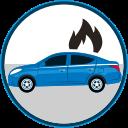 auto insurance, car insurance, seguro de autos, car in flames, secure icon
