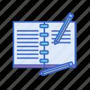 diary, hobby, journal, journaling, pencils, write, writing icon