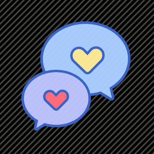 conversation, heart, love, speak icon