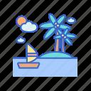 beach, holiday, island, relax, sea, travel, vacation icon