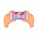 cartoon, mobile, phone, screen, selfie, sign, smartphone icon