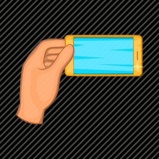 cartoon, mobile, phone, screen, selfie, sign, smartphone icon