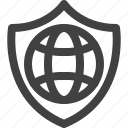 globe, protection, security, shield icon
