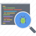 bug, code, develop, developer, program, programming, search icon