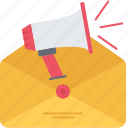 envelope, horn, letter, mail, marketing, promotion icon