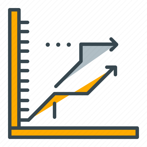 arrows, business, chart, forecast, lines, profit, seo icon