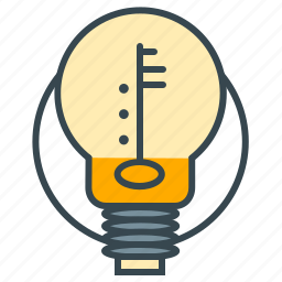 business, creative, idea, key, lightbulb, seo, thought icon