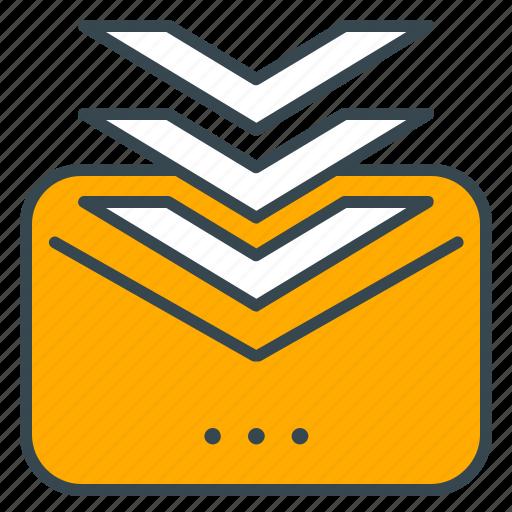 arrows, business, envelope, inbox, insert, seo icon