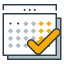 business, calendar, checkmark, schedule, seo icon
