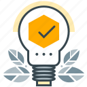 business, checkmark, leaves, lightbulb, seo, solution icon