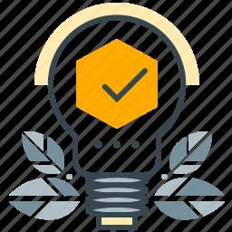 business, checkmark, leaves, lightbulb, seo, solution icon