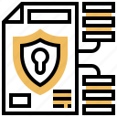 confident, data, document, protection, shield icon