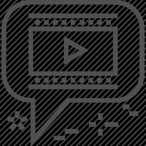 bubble, communication, internet, marketing, seo, video, video icon icon