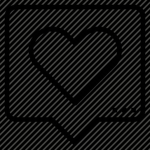 commnet, heart, like, love, seo icon