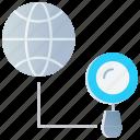 communication, connection, explore, globe, search results, seo icon
