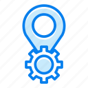 gear, location, marker, pin, settings icon